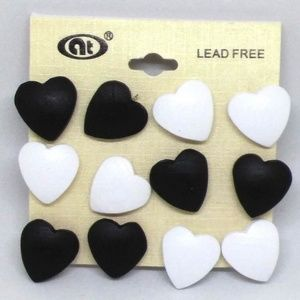 Earrings Heart Shaped Wood Stud Multiples 1048